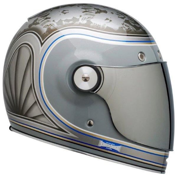 Bell Bullitt Schultz Century Silver Full Face Motorcycle Helmet Left Side