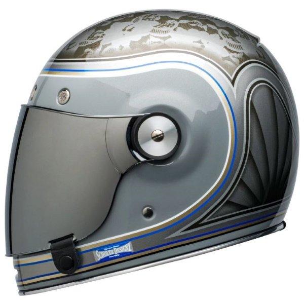 Bell Bullitt Schultz Century Silver Full Face Motorcycle Helmet Right Side