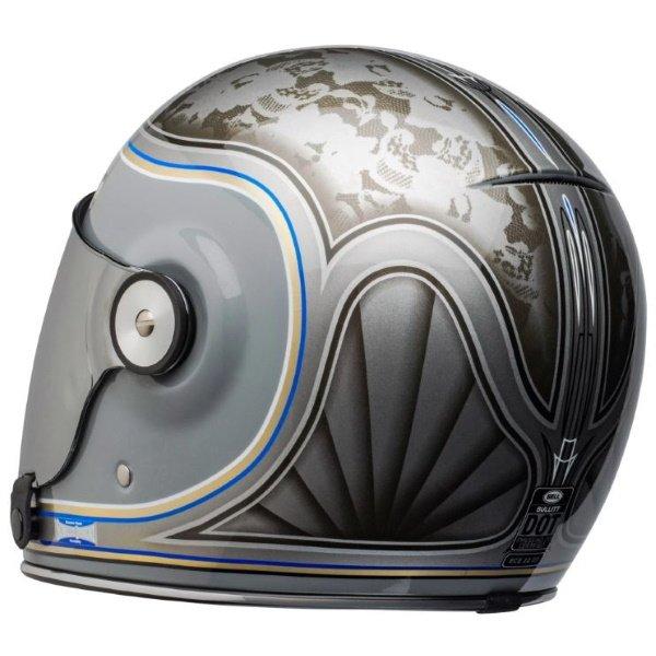 Bell Bullitt Schultz Century Silver Full Face Motorcycle Helmet Back Left