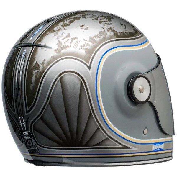 Bell Bullitt Schultz Century Silver Full Face Motorcycle Helmet Back Right