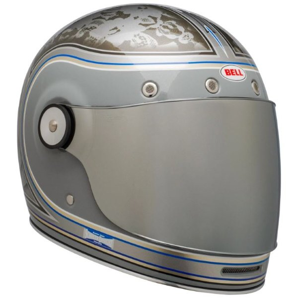Bell Bullitt Schultz Century Silver Full Face Motorcycle Helmet Front Right