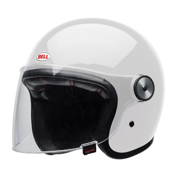 Bell Riot Solid White Open Face Motorcycle Helmet Front Left