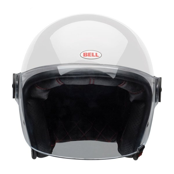 Bell Riot Solid White Open Face Motorcycle Helmet Front
