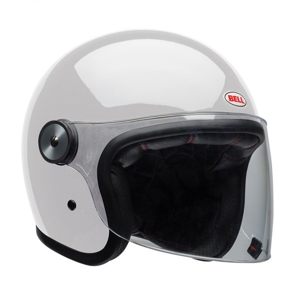 Bell Riot Solid White Open Face Motorcycle Helmet Front Right