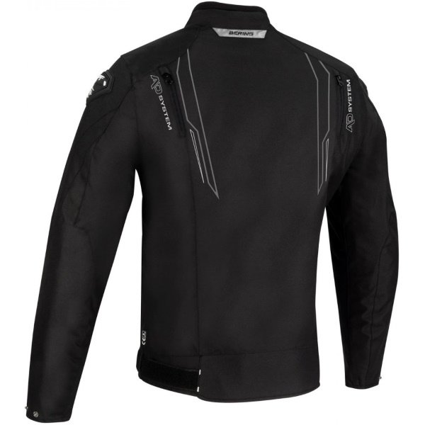 Bering Guardian Black White Silver Textile Motorcycle Jacket Back