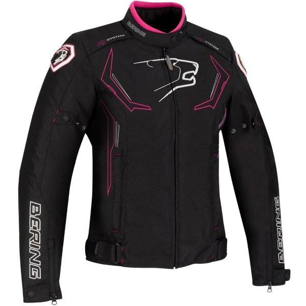 Bering Guardian Ladies Black White Pink Textile Motorcycle Jacket Front