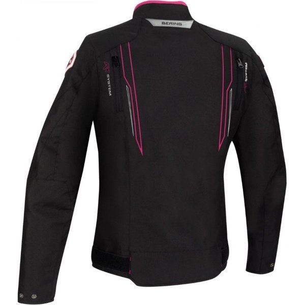 Bering Guardian Ladies Black White Pink Textile Motorcycle Jacket Back