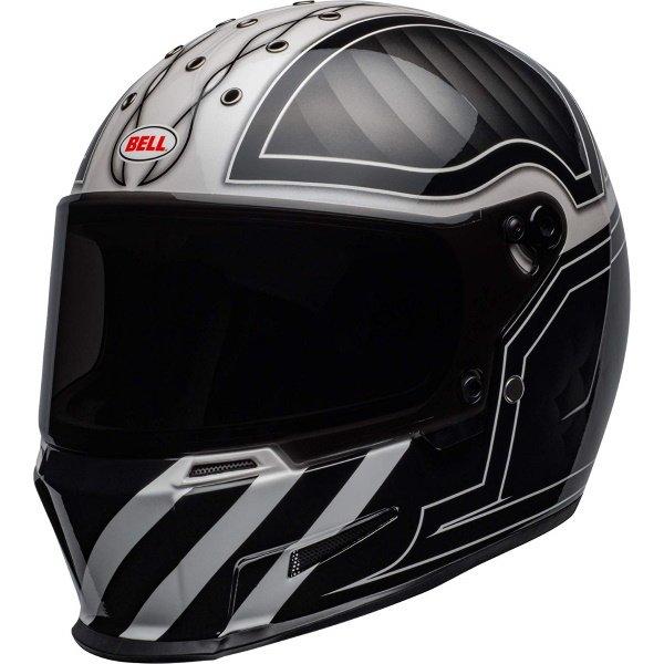 Bell Eliminator Outlaw Black White Full Face Motorcycle Helmet Front Left