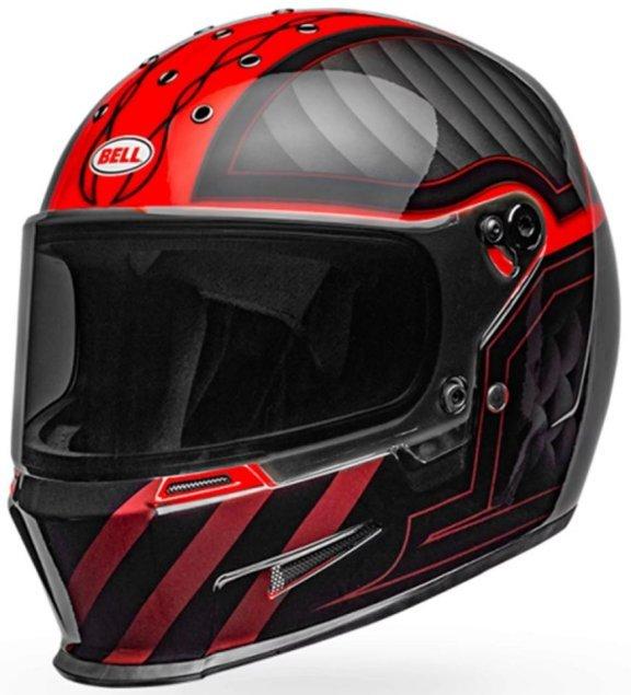 Bell Eliminator Outlaw Black Red Full Face Motorcycle Helmet Front Left