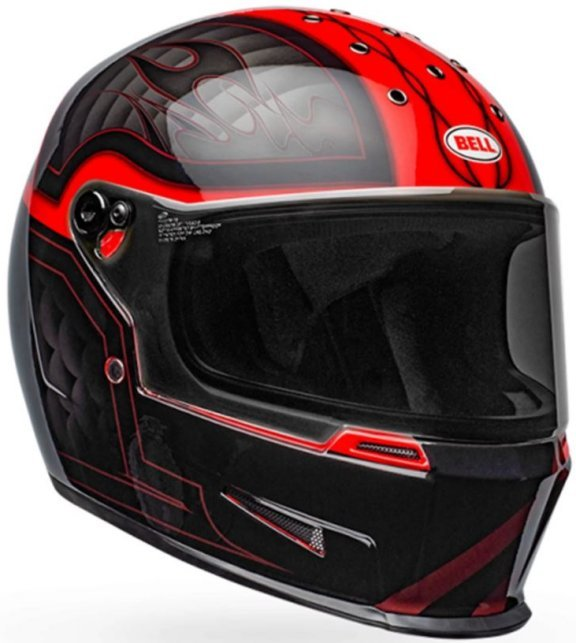 Bell Eliminator Outlaw Black Red Full Face Motorcycle Helmet Front Right