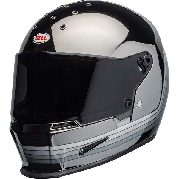 Bell Eliminator Spectrum Matte Black Chrome Full Face Motorcycle Helmet Front Left