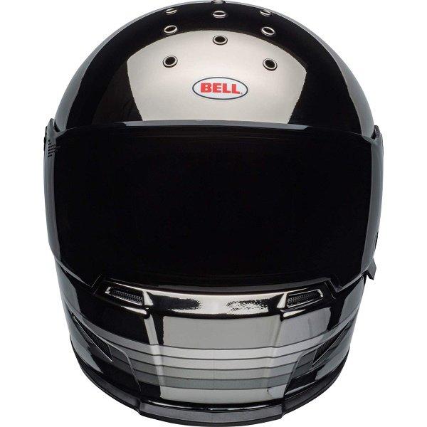Bell Eliminator Spectrum Matte Black Chrome Full Face Motorcycle Helmet Front