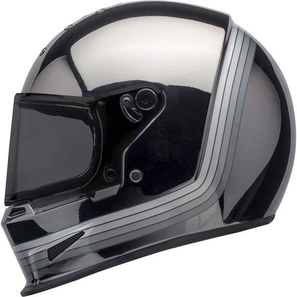 Bell Eliminator Spectrum Matte Black Chrome Full Face Motorcycle Helmet Left Side