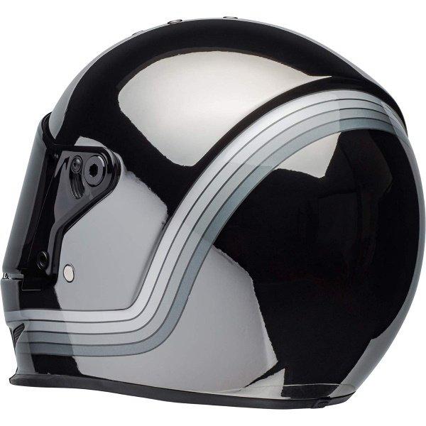 Bell Eliminator Spectrum Matte Black Chrome Full Face Motorcycle Helmet Back Left