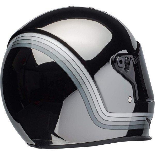 Bell Eliminator Spectrum Matte Black Chrome Full Face Motorcycle Helmet Back Right