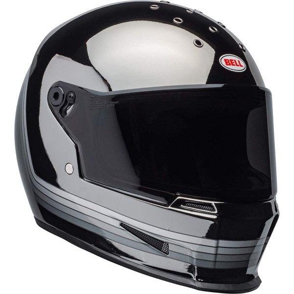Bell Eliminator Spectrum Matte Black Chrome Full Face Motorcycle Helmet Front Right