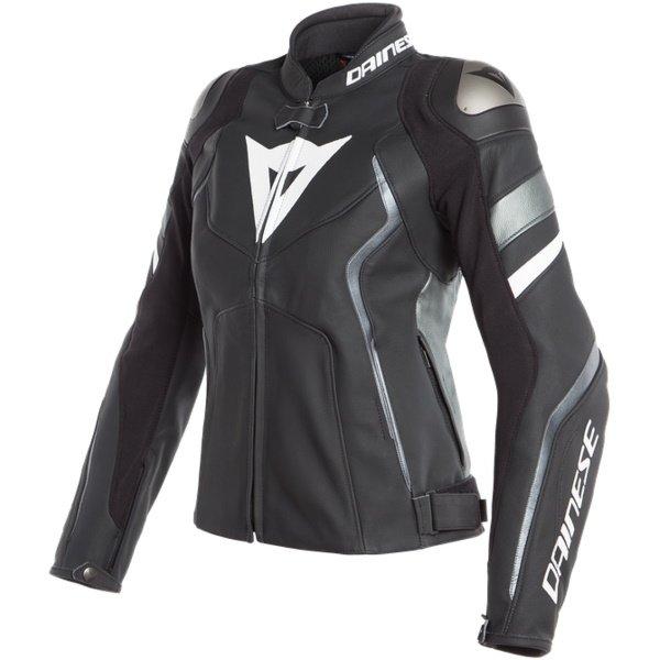 Avro 4 Ladys Leather Jackets Matt Black Anthracite White Dainese Ladies