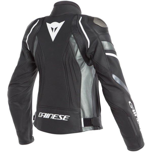 Dainese Avro 4 Ladies Matt Black Anthracite White Leather Motorcycle Jacket Back