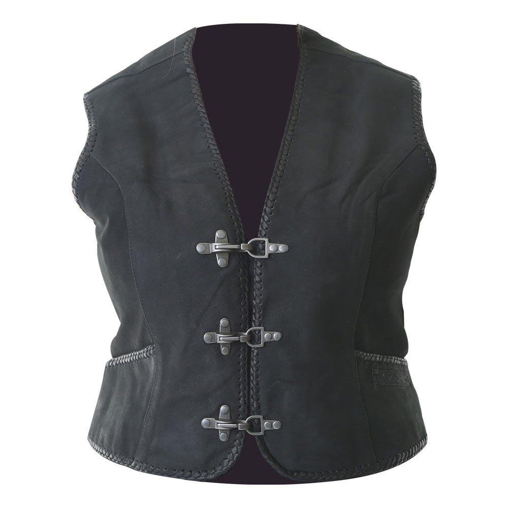 Ladies Leather Vest Black Ladies Casual