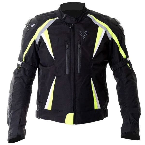 Sports Jacket Black Flou Yellow White Mens Motorcycle Clothing, Boots And Gloves