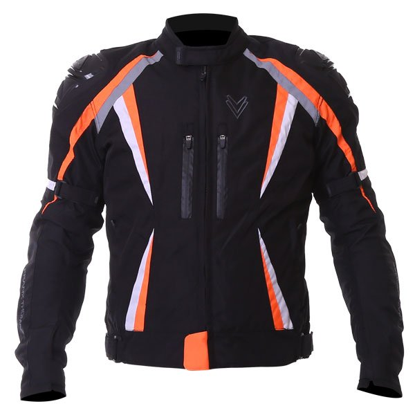Sports Jacket Black Orange White Mens Motorcycle Clothing, Boots And Gloves