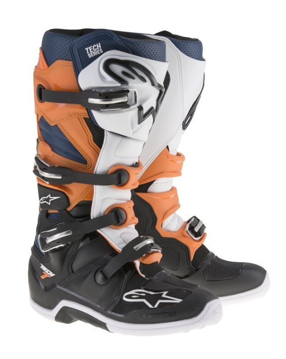 Tech 7 Boots Black Orange White Blue Motocross Boots