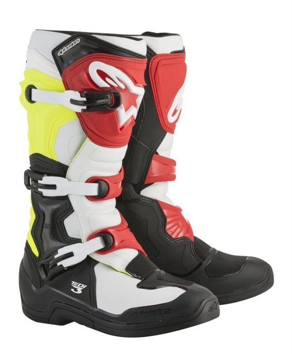 Alpinestars Tech 3 Black White Yellow Flo Red MX Boots