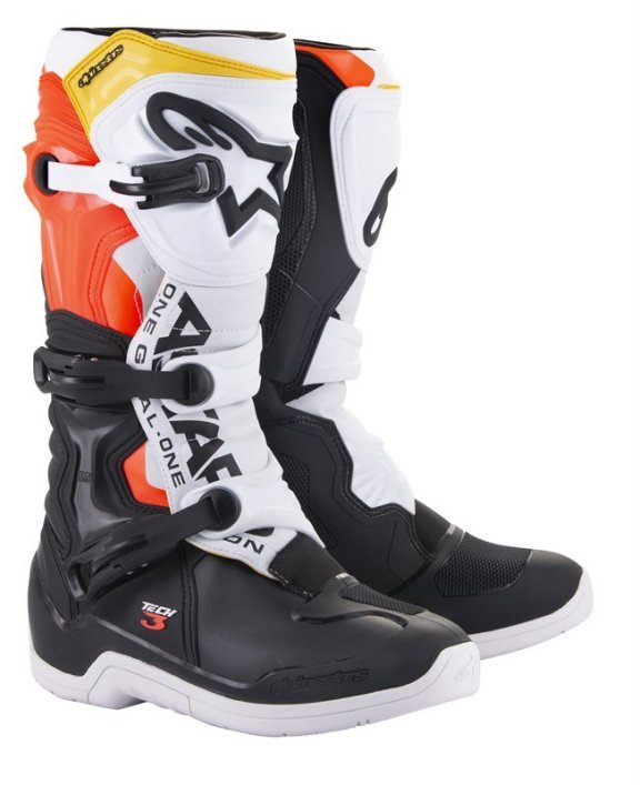 Alpinestars Tech 3 Black White Red Flo Yellow MX Boots