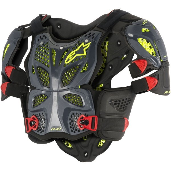 Alpinestars A-10 Anthracite Black Red Full Chest Protector Front