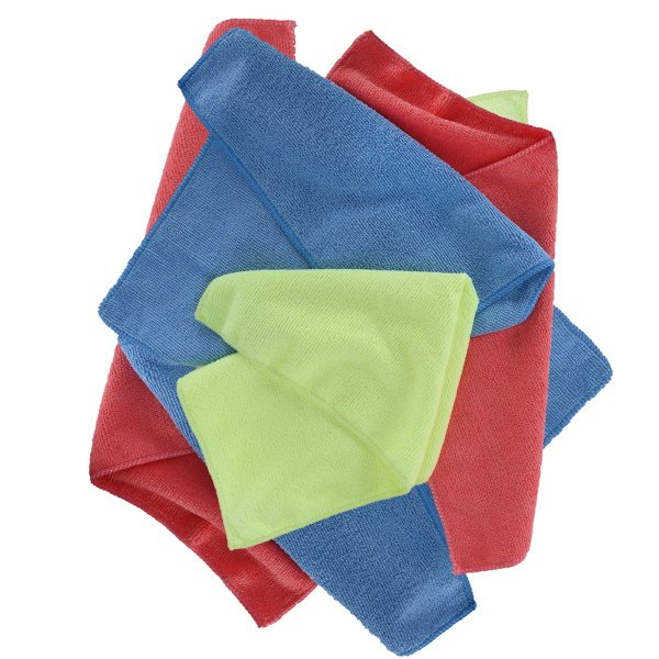 Microfibre Towels 6pk Blue Yellow Red Cleaning Products