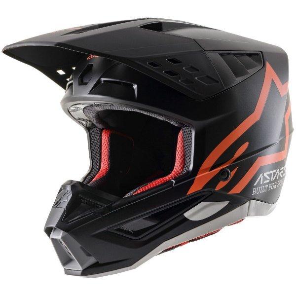Alpinestars S-M5 Compass Helmet Matt Black Orange Flo Size: S