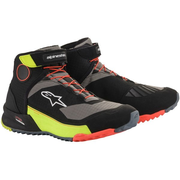 Alpinestars CR-X Drystar Riding Black Yellow Flu Red Flu Motorcycle Shoes
