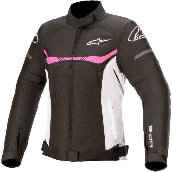 Alpinestars Stella T-SP S Ladies Black White Fuchsia Waterproof Motorcycle Jacket Front
