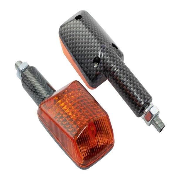 Bike It Long Stem Mini Indicators Carbon Amber Carbon Amber