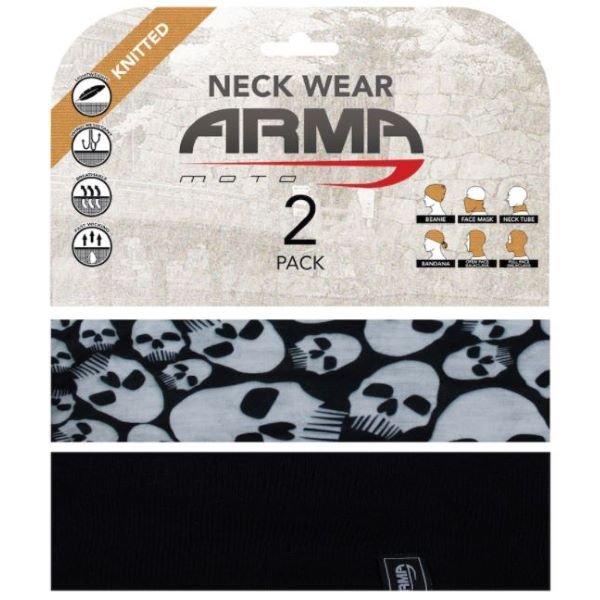 ARMR Seamless Neck Tube 2 Pack Skulls Black Skulls Black