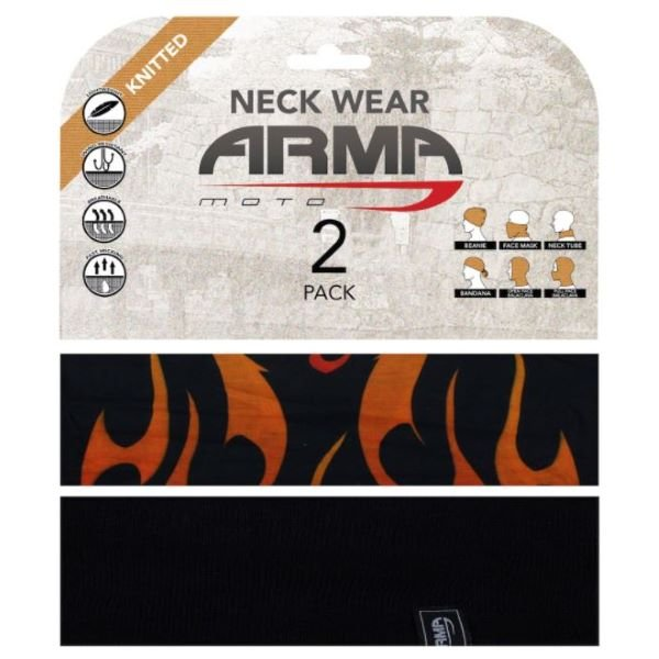 ARMR Seamless Neck Tube 2 Pack Red Flame Black Red Flame Black