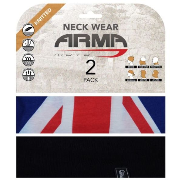 ARMR Seamless Neck Tube 2 Pack Union Jack Black Union Jack Black
