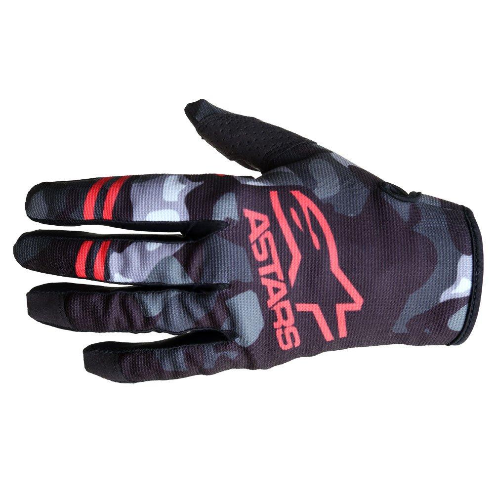 Radar Gloves Grey Camo Red Fluo