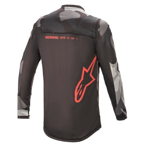 Alpinestars Racer Tactical Jersey Grey Camo Red Fluo Size: Mens UK - M