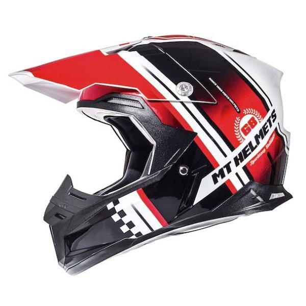 Synchrony Endurance Helmet White Black Red MT Helmets Motocross