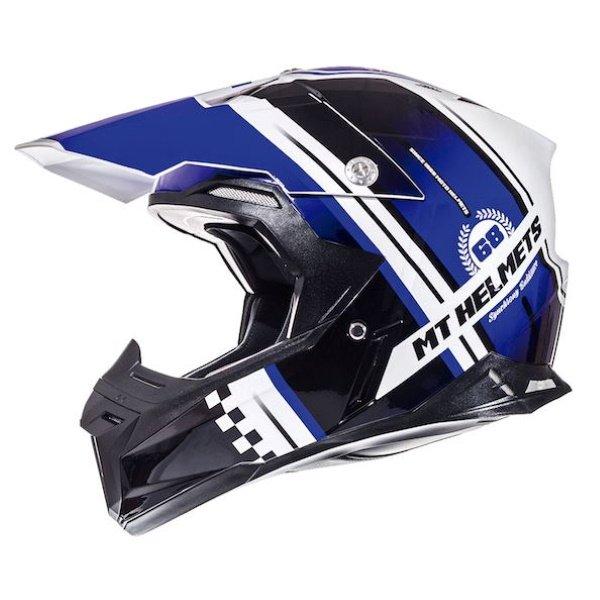 Synchrony Endurance Helmet White Black Blue MT Helmets Motocross