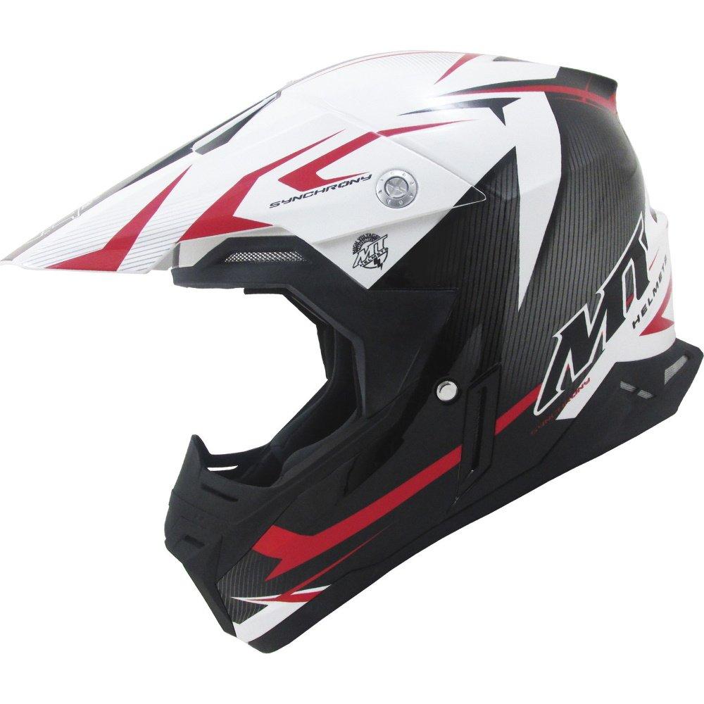 Synchrony Steel Helmet Black White Red MT Helmets Motocross