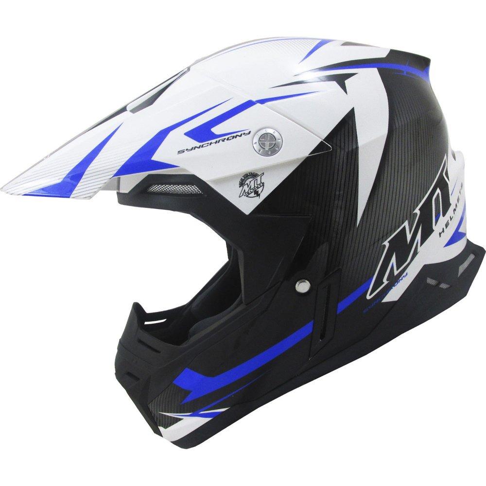 Synchrony Steel Helmet Black White Blue MT Helmets Motocross