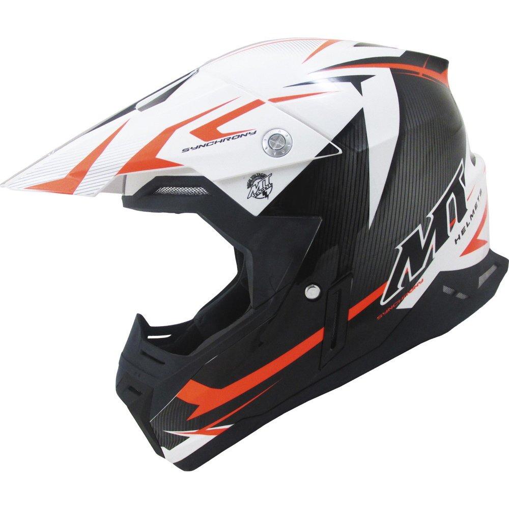 Synchrony Steel Helmet Black White Orange MT Helmets Motocross