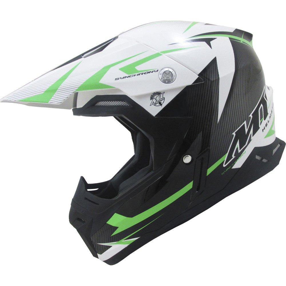 Synchrony Steel Helmet Black White Green MT Helmets Motocross
