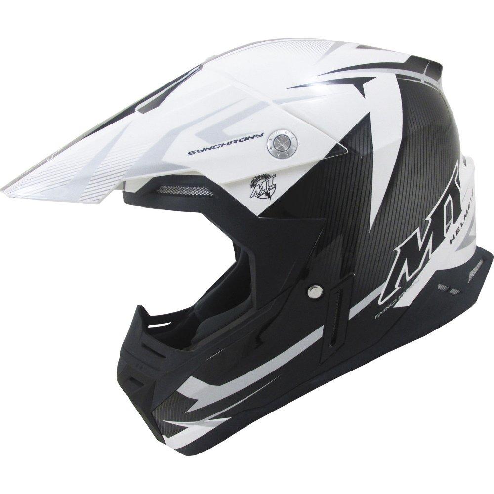 Synchrony Steel Helmet Black White Grey MT Helmets Motocross