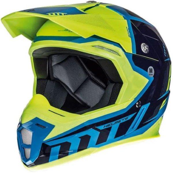 Synchrony Spec Helmet Fluo Yellow Blue MT Helmets Motocross