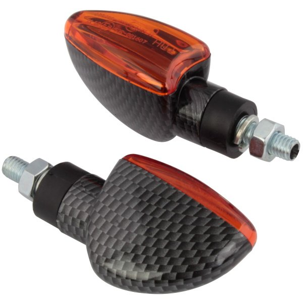 Bike It Mini Spear Indicators Short Carbon Amber Carbon Amber