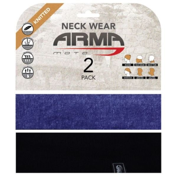 ARMR Seamless Neck Tube 2 Pack Blue Denim Black Blue Denim Black