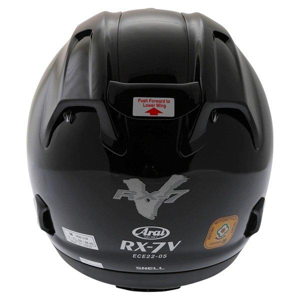 Arai RX-7V Diamond Black Full Face Motorcycle Helmet Back
